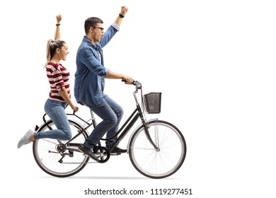 Young couple riding a bicycle and gesturing happiness isolated on white background