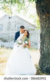 Young couple. Rustic wedding