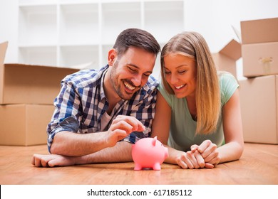 Young couple is saving money for their new home.