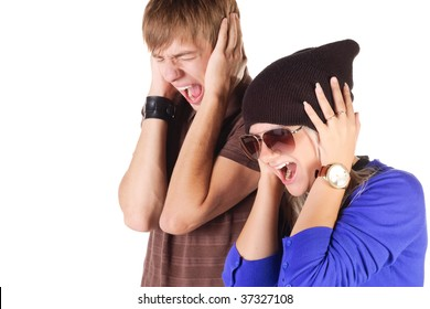 Young couple screaming. Isolated over white.