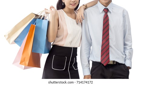 Young couple with shopping bags isolate on white background,clipping path