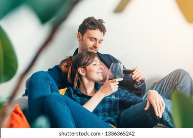 young couple sitting on sofa at home, toasting and smiling - home life, living together, and domestic partnership concept