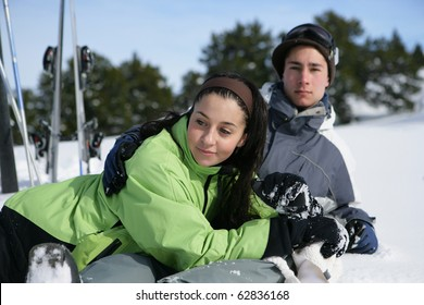 Young couple in snowy landscape