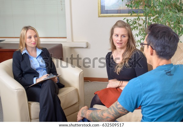Young couple talk with consultant