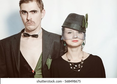 Young couple theater actors in a retro style