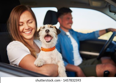 Young couple and their dog traveling together