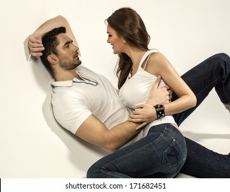 Young couple touching each other