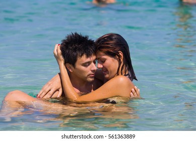 Young couple at the tropical beach
