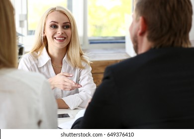 Young couple trying to get loan at bank clerk consultant office. Planning future, married life, social service, expectation discussion, startup mortgage, internal revenue officer visit concept