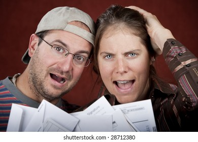 Young couple upset over too many bills