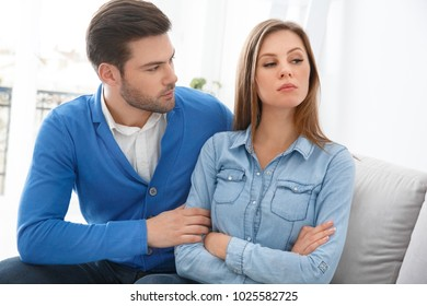 Young couple waiting for psychology session family problems husband trying to get well with wife