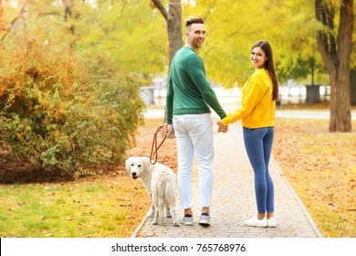 Young couple walking their dog in park