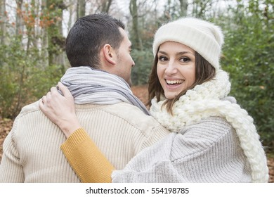 Young couple Walking  Winter Woodland