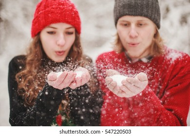 Young couple in winter clothes Valentine's Day