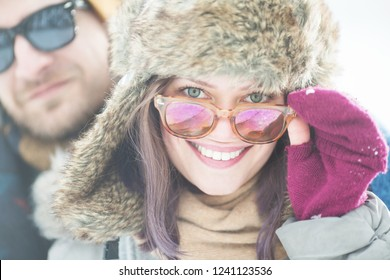 Young couple in winter outdoors