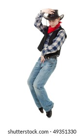 Young cowboy dancing on a white background