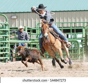 Young cowboy on a horse competing in calf roping during a rodeo.
