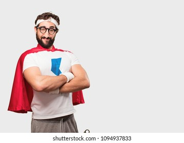young crazy, bearded and expressive sports man gesturing emotion and signs isolated against monochrome background