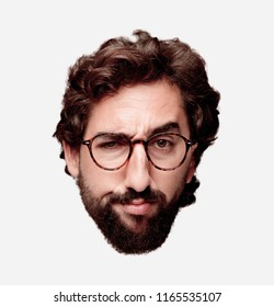 young crazy bearded man cutout head expression isolated. hipster role with view glasses