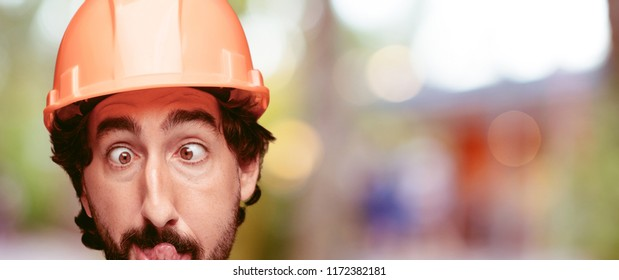 young crazy bearded man cutout head expression isolated. built worker role. joking concept