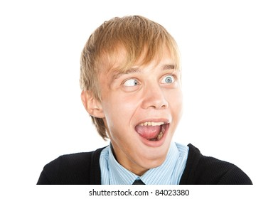 young crazy guy is funny expression on his face, isolated over white