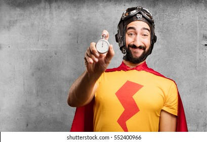 young crazy hero with stopwatch