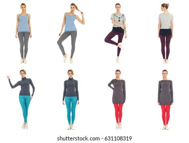 Young crazy hipster girl in leggings isolated on white