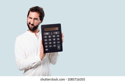 young crazy or mad man, expressive face, with a calculator