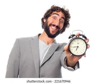 young crazy man with an alarm clock