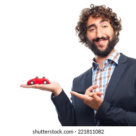 young crazy man with a car toy