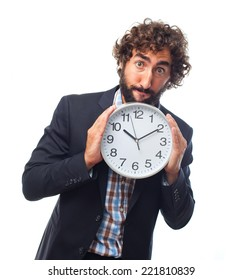 young crazy man with a clock