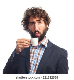 young crazy man with a cup of coffee