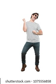 young crazy man dancing.full body cutout person against white background