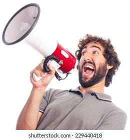 young crazy man shouting with a megaphone