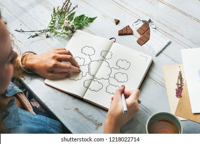 Young creative woman drawing a mind map