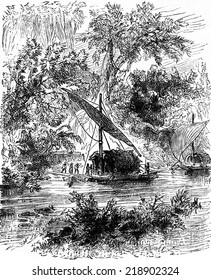 The young Creole was conducted there, vintage engraved illustration. Journal des Voyages, Travel Journal, (1879-80).