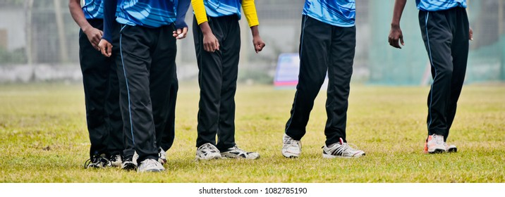 Young cricket players are practicing around a cricket ground isolated unique stock photo