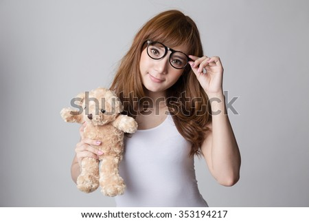 glasses pigtails Asian teen