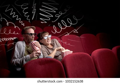 Young cute couple sitting in cinema, and eating popcorn while watching movie with doodle graphics