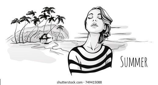 Young cute fashionable girl walking on tropical beach with palm trees. Hand-drawn portrait sketch illustration, black and white. Raster version.