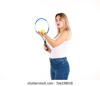Young cute girl with tennis racket, isolated
