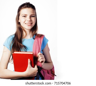 young cute teenage girl posing cheerful against white background
