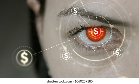Young cyborg female blinks then US Dollar currency symbols appears.