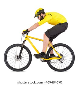 young cyclist with beard on yellow mountain bike isolated on white background