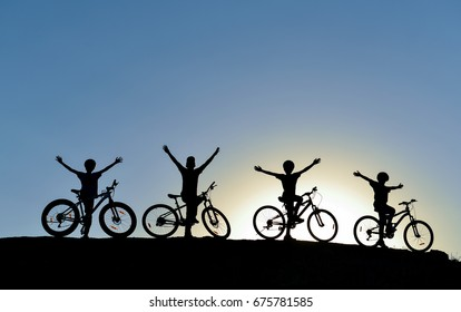 young cyclist driving group
