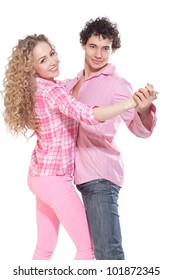young dancer couple in studio
