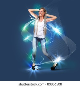 Young dancing blond woman in light flashes