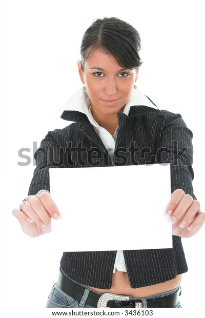 Young dark hair businesswoman in a suit, with blank paper, isolated on white
