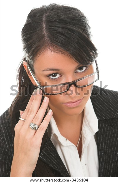 Young dark hair businesswoman in a suit, with glasses, isolated on white