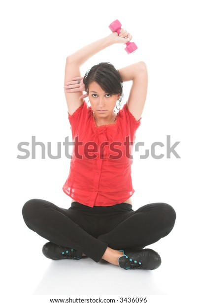 Young dark hair female, working out, isolated on white